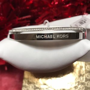 MK Silver & Pave Chrystal Hinged Bangle